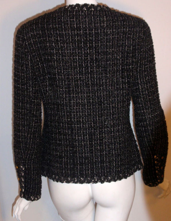 Chanel Classic Black, Gray, and White Tweed Jacket, Circa 1990 For Sale 3