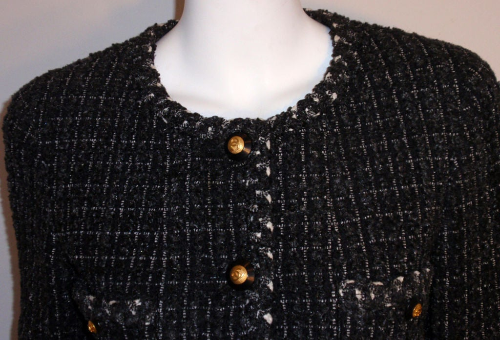 Chanel Classic Black, Gray, and White Tweed Jacket, Circa 1990 For Sale 4