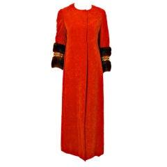 Bill Blass Long Orange Crushed Velvet Coat with Fur Cuffs