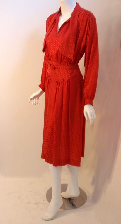 Christian Dior Red Silk Logo Print Dress With Matching