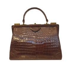 Vintage Nettie Rosenstien Brown Crocodile Handbag, Circa 1950
