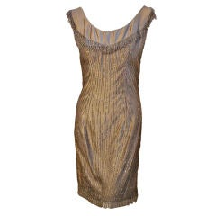 Ceil Chapman 1950's Champagne Silk Hand Beaded Shimmering Cocktail Dress