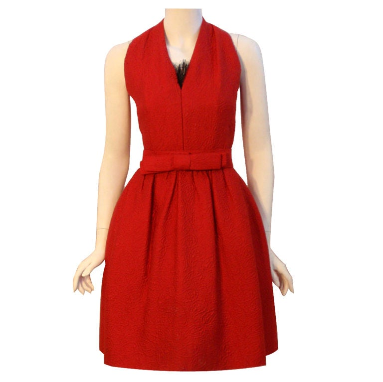 Christian dior haute couture red cocktail dress circa for Dior couture dress price