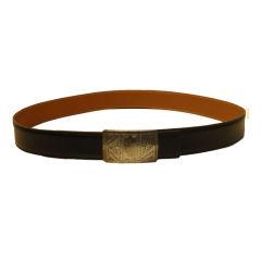 Hermes Men's Black Leather Belt with Sterling Silver Buckle