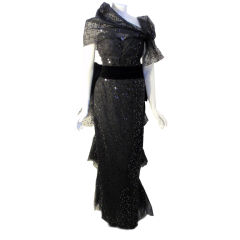 John Anthony Black Tulle Gown with Sequins and Wrap, Circa 1980