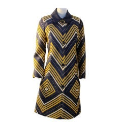 Travilla Blue, Yellow, and White Geometric Print Coat, 1970's