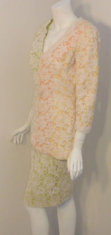 Orange Bob Mackie 2pc Lace Embroidered Jacket and Skirt Set, Circa 1980's For Sale
