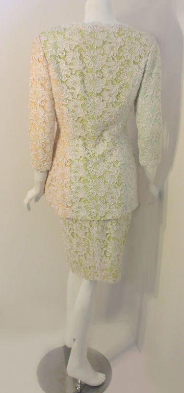 Bob Mackie 2pc Lace Embroidered Jacket and Skirt Set, Circa 1980's In Excellent Condition For Sale In Los Angeles, CA