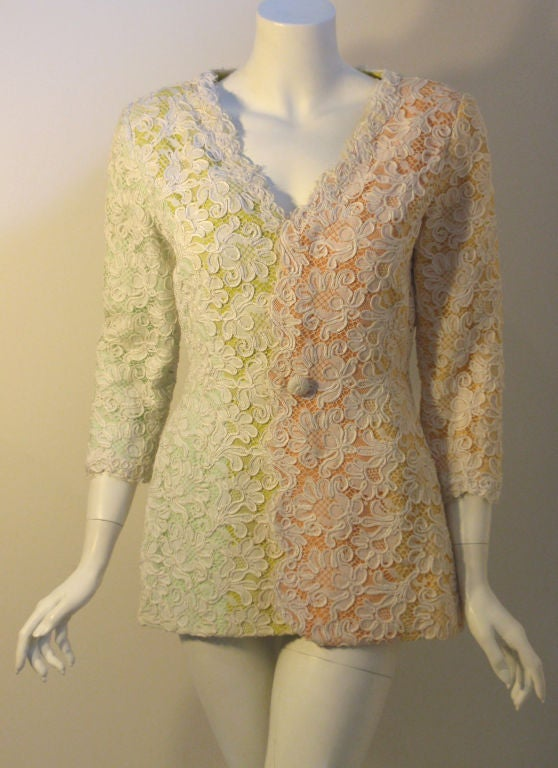 Women's Bob Mackie 2pc Lace Embroidered Jacket and Skirt Set, Circa 1980's For Sale
