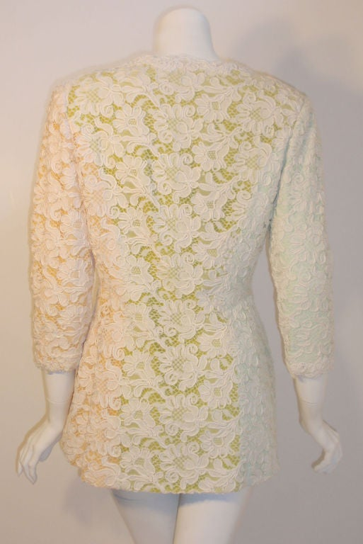 Bob Mackie 2pc Lace Embroidered Jacket and Skirt Set, Circa 1980's For Sale 1