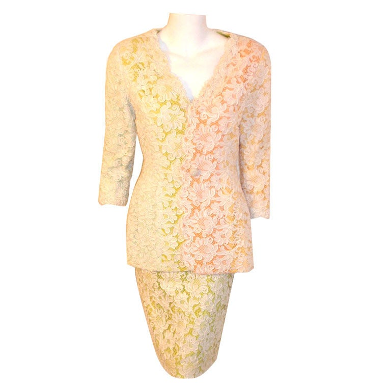 Bob Mackie 2pc Lace Embroidered Jacket and Skirt Set, Circa 1980's For Sale