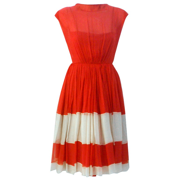 Galanos for Amelia Gray Red Chiffon Cocktail Dress, Circa 1960's For Sale