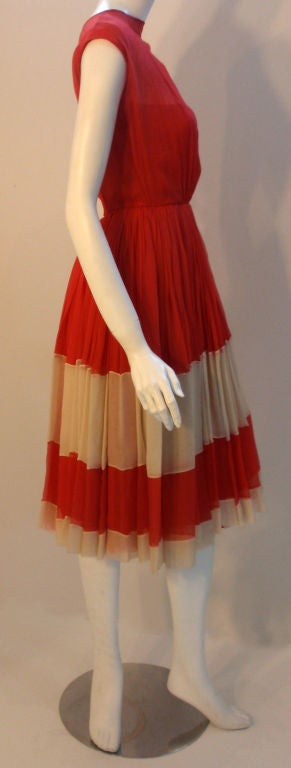 Galanos for Amelia Gray Red Chiffon Cocktail Dress, Circa 1960's In Excellent Condition For Sale In Los Angeles, CA