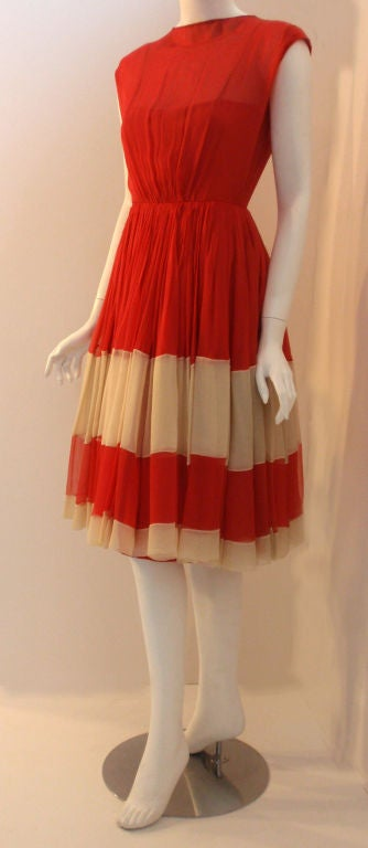 Women's Galanos for Amelia Gray Red Chiffon Cocktail Dress, Circa 1960's For Sale