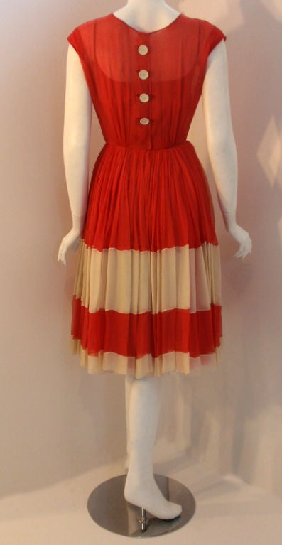 Galanos for Amelia Gray Red Chiffon Cocktail Dress, Circa 1960's For Sale 1