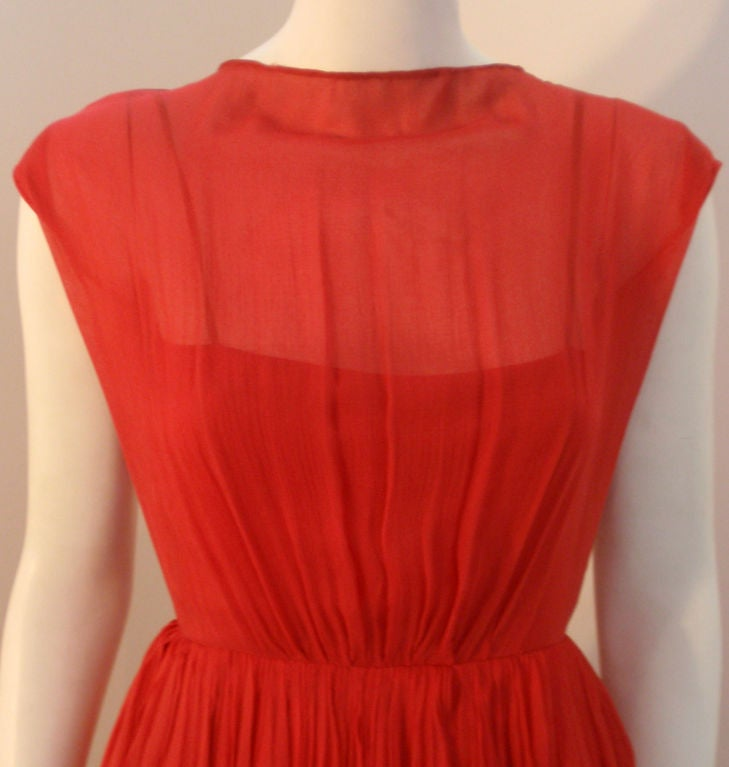 Galanos for Amelia Gray Red Chiffon Cocktail Dress, Circa 1960's For Sale 2