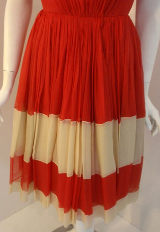 Galanos for Amelia Gray Red Chiffon Cocktail Dress, Circa 1960's For Sale 3
