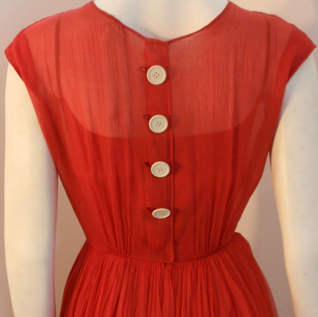 Galanos for Amelia Gray Red Chiffon Cocktail Dress, Circa 1960's For Sale 4