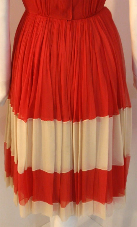 Galanos for Amelia Gray Red Chiffon Cocktail Dress, Circa 1960's For Sale 5