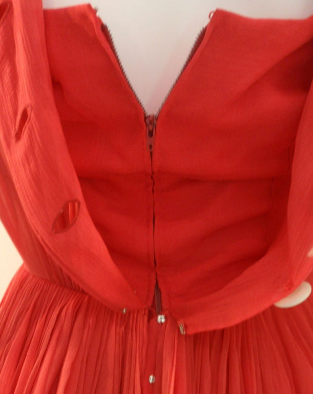 Galanos for Amelia Gray Red Chiffon Cocktail Dress, Circa 1960's For Sale 6