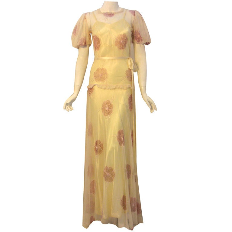 1930's Custom 2pc Long Cream Dress w/Embroidered Flowers & Slip