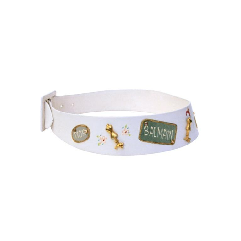 Calderon for Saks 5th Ave Novelty Belt, White Leather w/ Designer Lables For Sale