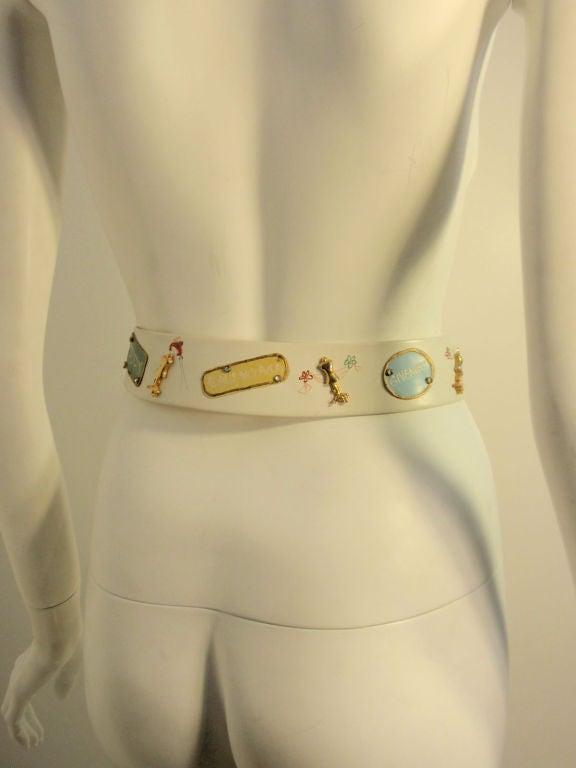 Gray Calderon for Saks 5th Ave Novelty Belt, White Leather w/ Designer Lables For Sale