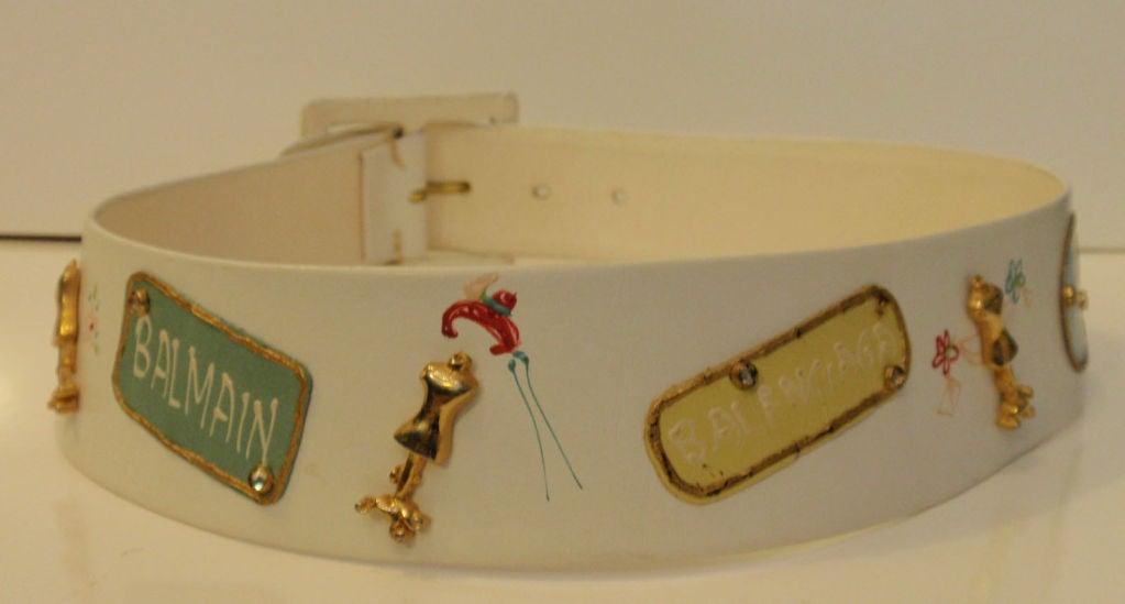 Women's Calderon for Saks 5th Ave Novelty Belt, White Leather w/ Designer Lables For Sale