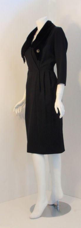 Christian Dior Black Dress with Black Velvet Collar, Circa 1960 In Good Condition For Sale In Los Angeles, CA