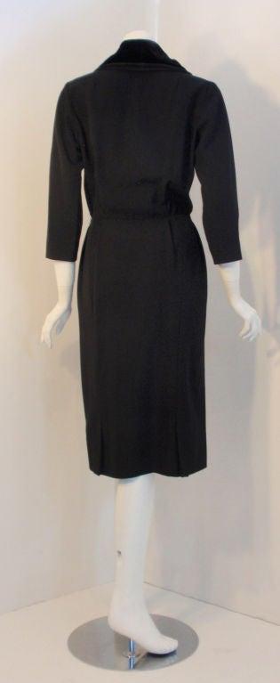 Christian Dior Black Dress with Black Velvet Collar, Circa 1960 4