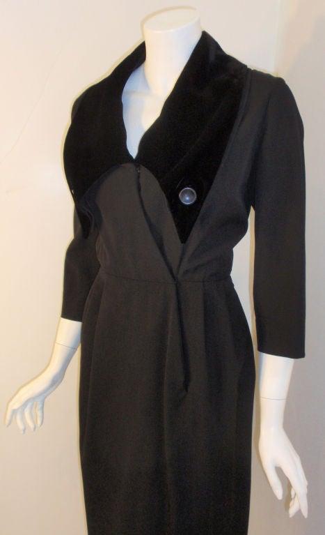Christian Dior Black Dress with Black Velvet Collar, Circa 1960 5
