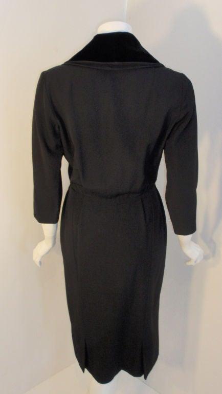 Christian Dior Black Dress with Black Velvet Collar, Circa 1960 7