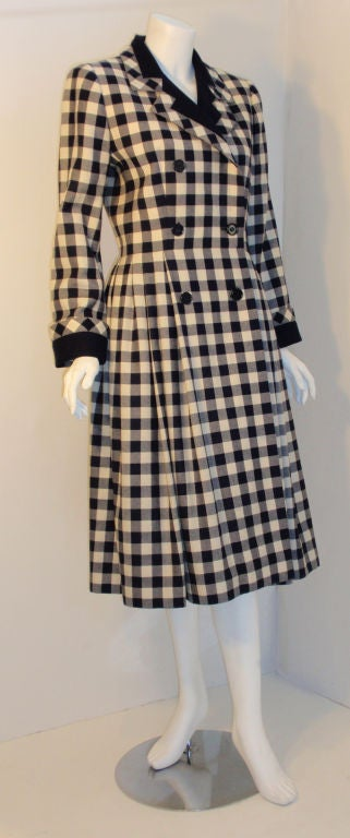 Givenchy Navy and Cream Plaid Wool Fitted Flared Coat Dress, Circa 1980s 2
