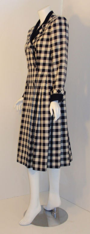 Givenchy Navy and Cream Plaid Wool Fitted Flared Coat Dress, Circa 1980s 3