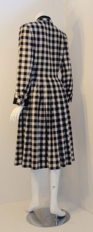 Givenchy Navy and Cream Plaid Wool Fitted Flared Coat Dress, Circa 1980s 4