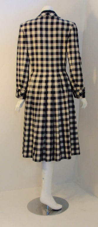 Givenchy Navy and Cream Plaid Wool Fitted Flared Coat Dress, Circa 1980s 5