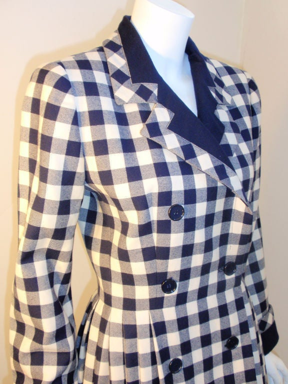 Givenchy Navy and Cream Plaid Wool Fitted Flared Coat Dress, Circa 1980s 6