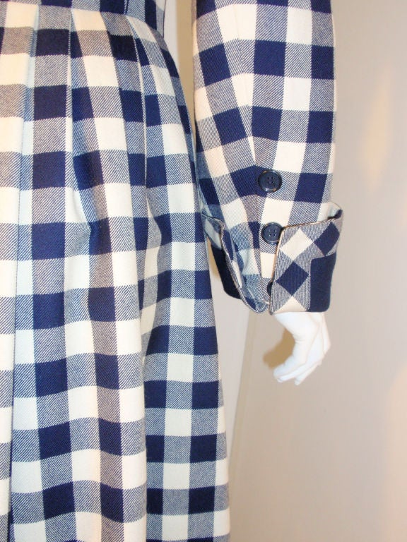 Givenchy Navy and Cream Plaid Wool Fitted Flared Coat Dress, Circa 1980s 7