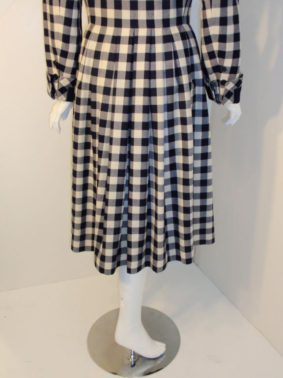 Givenchy Navy and Cream Plaid Wool Fitted Flared Coat Dress, Circa 1980s 8