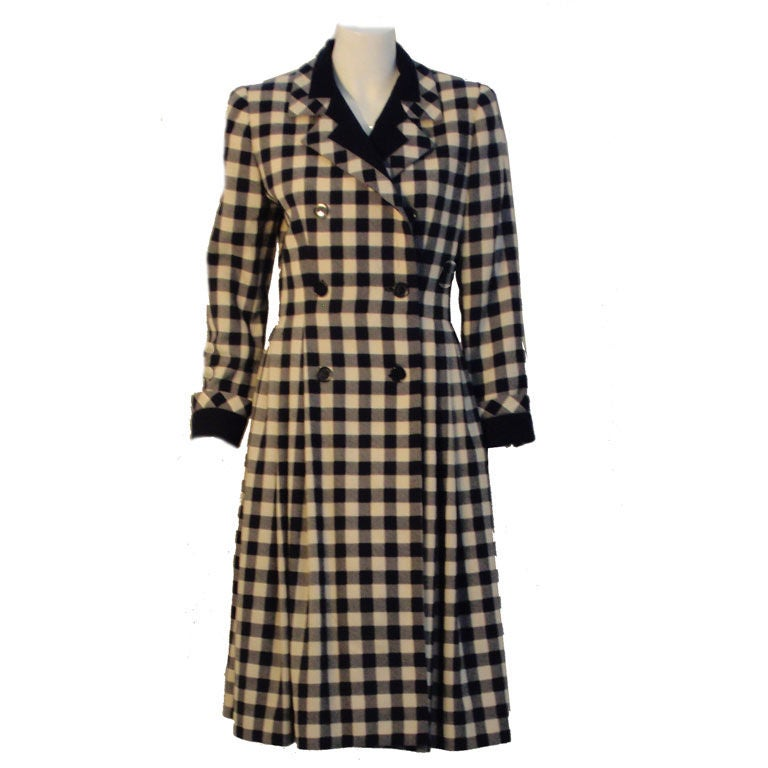 Givenchy Navy and Cream Plaid Wool Fitted Flared Coat Dress, Circa 1980s 1