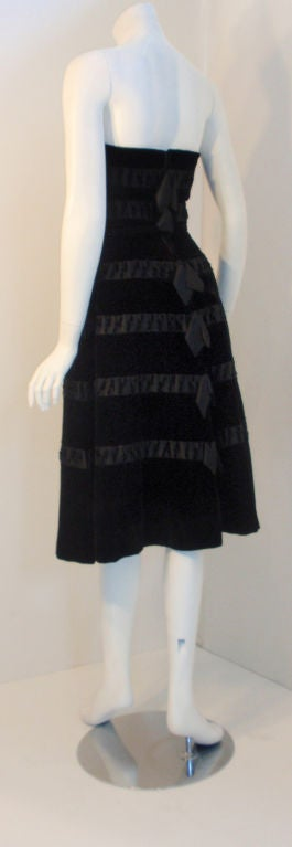 Harvey Berin Black Velvet Cocktail Dress with Silk Ribbons, 1960's In Excellent Condition For Sale In Los Angeles, CA