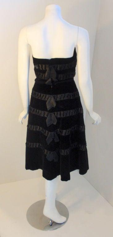 Women's Harvey Berin Black Velvet Cocktail Dress with Silk Ribbons, 1960's For Sale