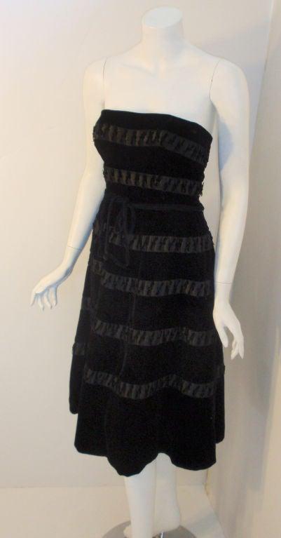 Harvey Berin Black Velvet Cocktail Dress with Silk Ribbons, 1960's For Sale 1