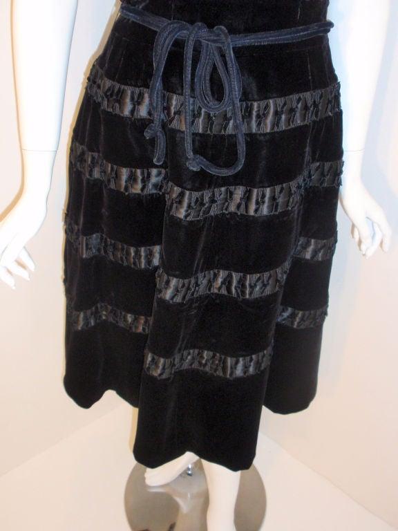 Harvey Berin Black Velvet Cocktail Dress with Silk Ribbons, 1960's For Sale 2