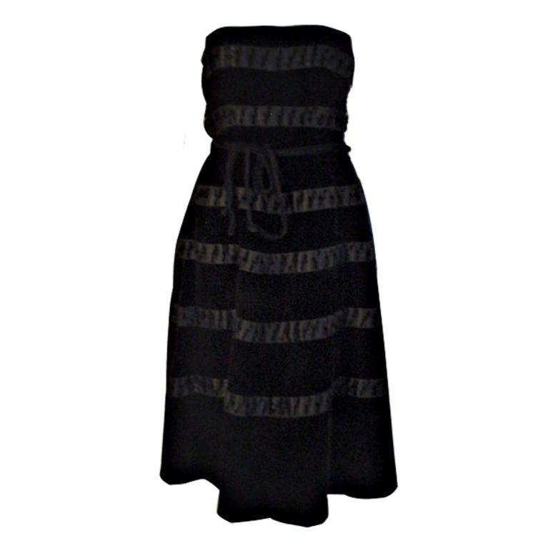 Harvey Berin Black Velvet Cocktail Dress with Silk Ribbons, 1960's For Sale