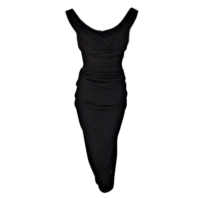 Ceil Chapman (Attributed) Vintage Black Cocktail Dress, 1940 1