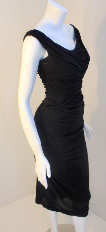 Ceil Chapman (Attributed) Vintage Black Cocktail Dress, 1940 5