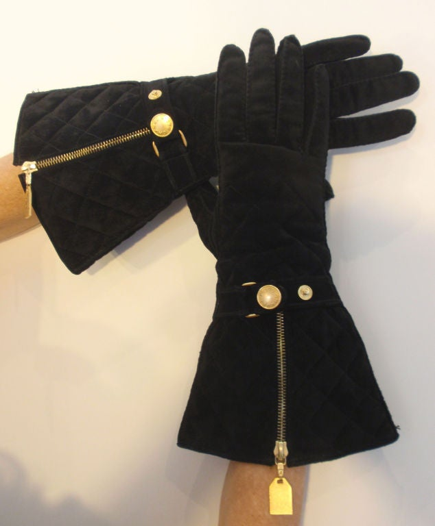 Chanel Black Quilted Suede Elbow Length Gloves, Circa 1990 ...