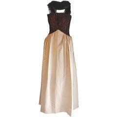 Balenciaga Couture Black Lace and Cream Silk Gown, Circa 1950's