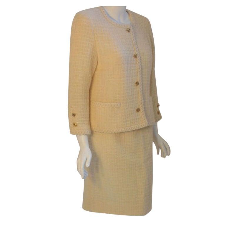 Chanel 2pc Cream Wool Jacket and Skirt Set, Circa 1980